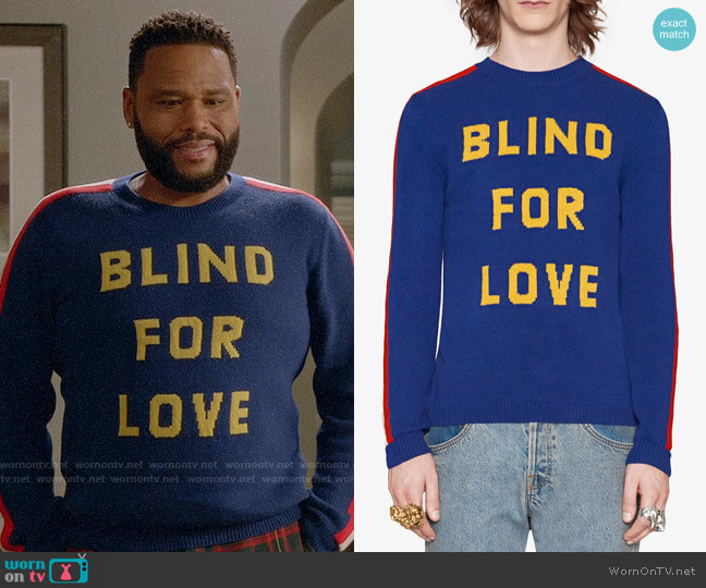 Gucci Blind For Love Tiger Sweater worn by Andre Johnson (Anthony Anderson) on Blackish
