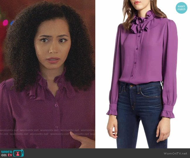 Halogen Ruffle Neck Blouse worn by Macy Vaughn (Madeleine Mantock) on Charmed