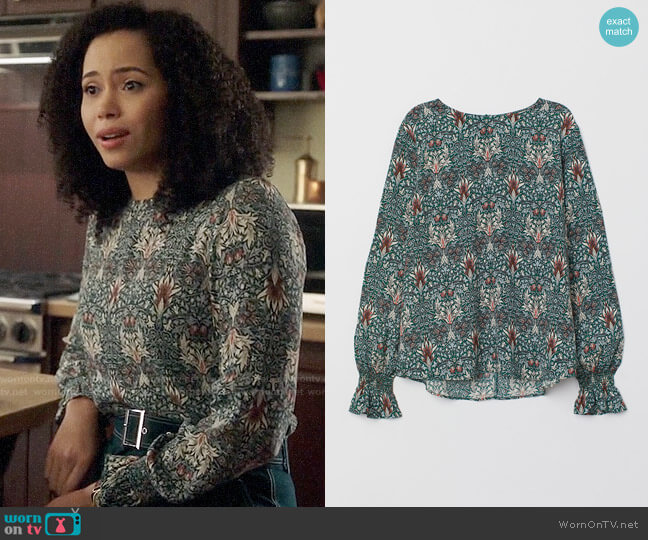 H&M x Morris Blouse with Smocking worn by Macy Vaughn (Madeleine Mantock) on Charmed