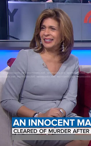 Hoda's grey v-neck tie waist dress on Today