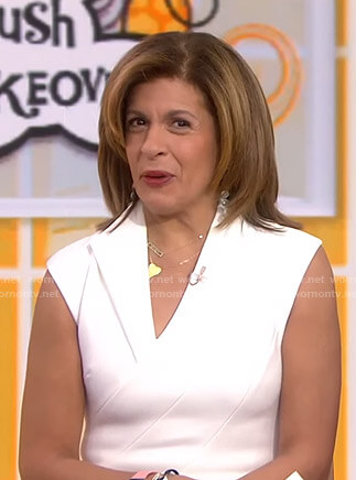 Hoda's white faux wrap slit dress on Today