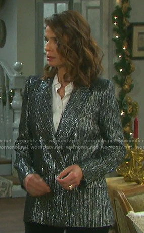 Hope's metallic double breasted blazer on Days of our Lives
