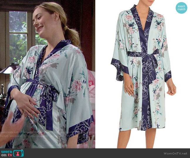 In Bloom by Jonquil Floral Kimono Wrap Robe worn by Annika Noelle on The Bold & the Beautiful