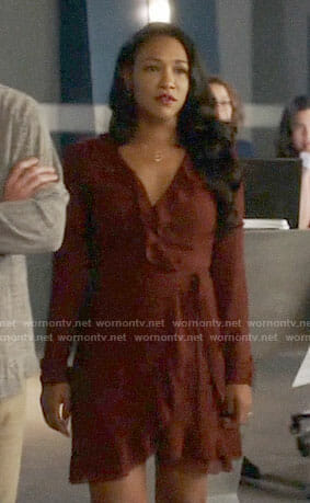 Iris's brown ruffled wrap dress on The Flash