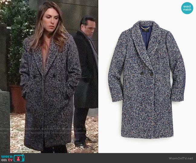 J. Crew Daphne topcoat in Italian tweed worn by Elizabeth Hendrickson on General Hospital
