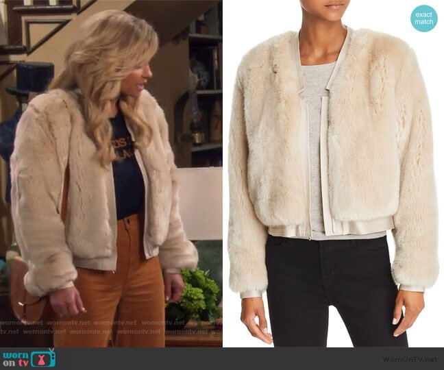 Ashby Faux Fur Jacket by J Brand worn by DJ Tanner-Fuller (Candace Cameron Bure) on Fuller House