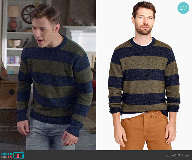 J. Crew Cotton-wool crewneck sweater in stripe worn by Luke Dunphy (Nolan Gould) on Modern Family