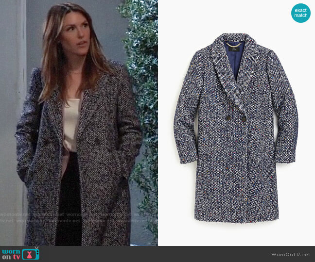 J. Crew Daphne topcoat in Italian tweed worn by Margaux Dawson (Elizabeth Hendrickson) on General Hospital