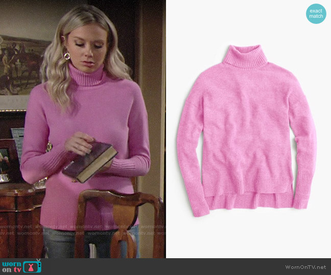 J. Crew Relaxed wool turtleneck sweater with rib trim worn by Abby Newman (Melissa Ordway) on The Young & the Restless
