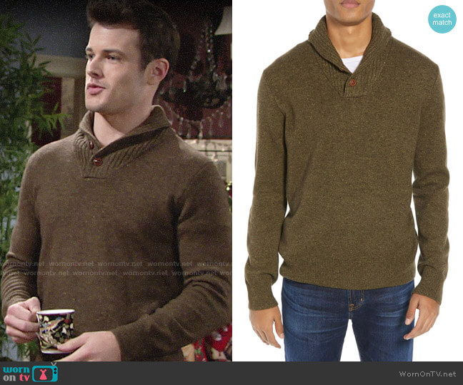 J. Crew Rugged Merino Wool Blend Shawl Collar Pullover Sweater worn by Kyle Abbott (Michael Mealor) on The Young & the Restless