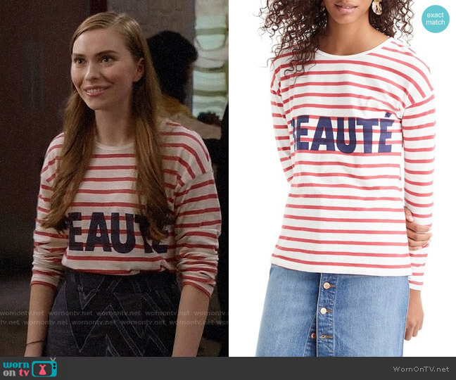 J. Crew Beaute Long Sleeve Tee worn by Megan on Black-ish