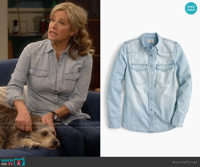 J. Crew Western shirt in light wash worn by Vanessa Baxter (Nancy Travis) on Last Man Standing