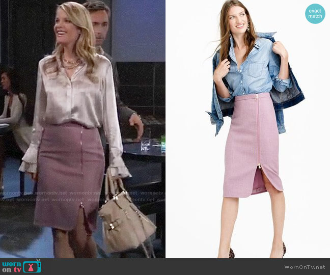 J. Crew Zip Pencil Skirt worn by Nina Reeves (Michelle Stafford) on General Hospital