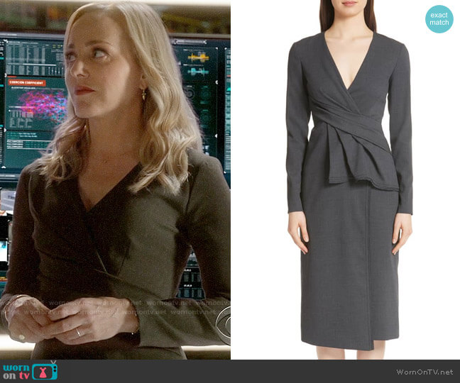 Jason Wu Peplum Waist Tropical Stretch Wool Dress worn by Geneva Carr on Bull