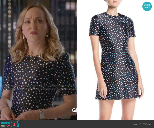 Jason Wu Short-Sleeve Mini Floral-Print Satin Mini Dress worn by Marissa Morgan (Geneva Carr) on Bull