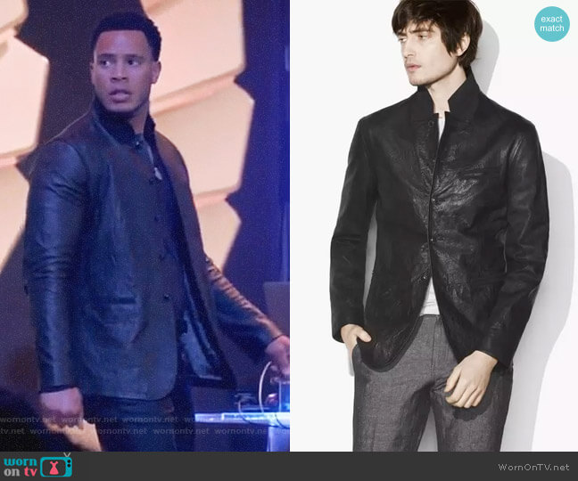 Crinkle Leather Blazer Jacket by John Varvatos worn by Trai Byers on Empire
