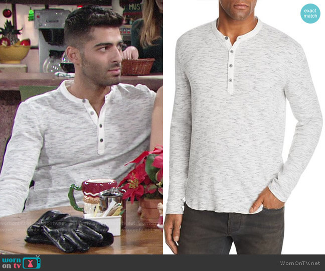 John Varvatos Star USA Space-Dyed Henley worn by Arturo Rosales (Jason Canela) on The Young & the Restless
