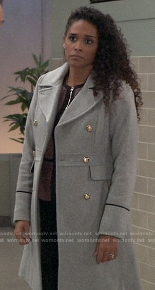 Jordan's grey coat with silver buttons on General Hospital