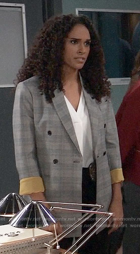 Jordan's grey blazer with yellow cuffs on General Hospital