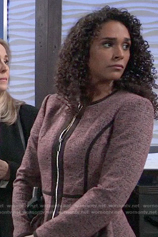 Jordan's pink peplum jacket on General Hospital