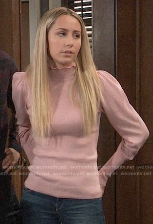 Josslyn's pink ruffle neck sweater on General Hospital