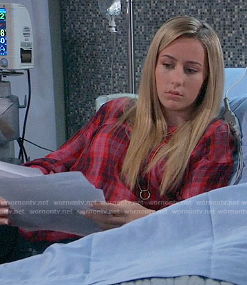 Josslyn's pink and red plaid top on General Hospital