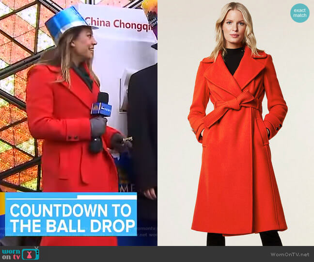 Belted Wrap Coat by Karen Millen worn by Ginger Zee  on Good Morning America