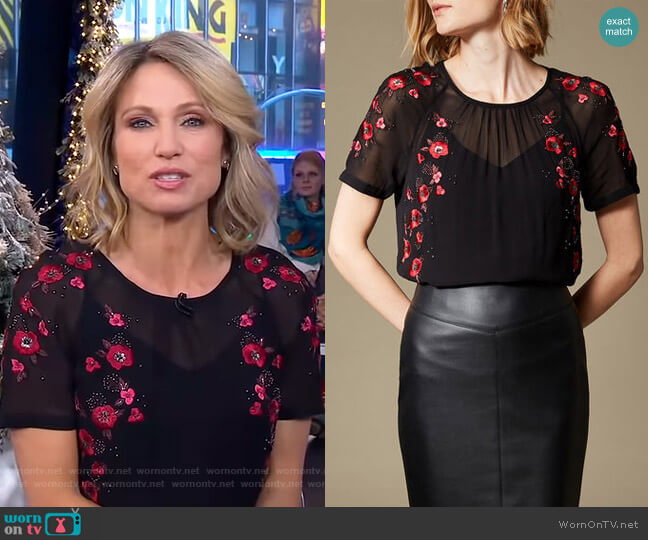 Floral Embroidered Top by Karen Millen worn by Amy Robach  on Good Morning America