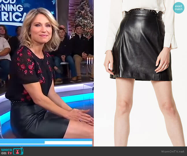Leather Mini Skirt by Karen Millen worn by Amy Robach  on Good Morning America