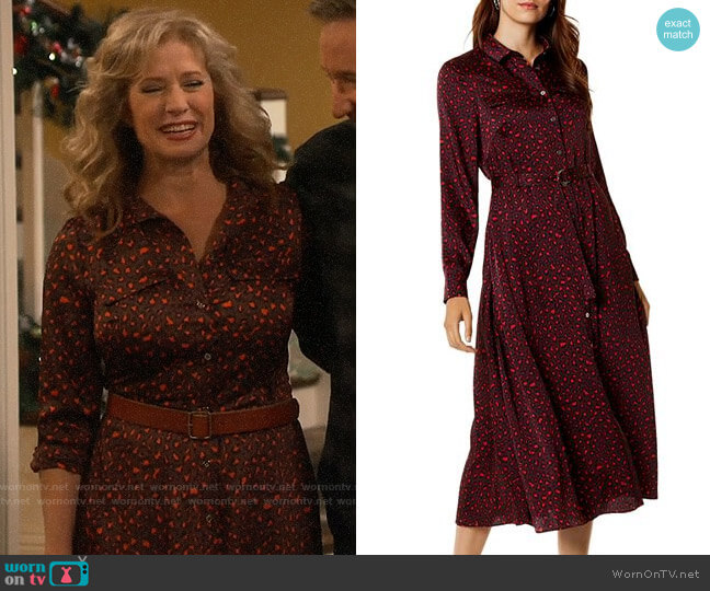 Karen Millen Leopard Print Maxi Shirt Dress worn by Vanessa Baxter (Nancy Travis) on Last Man Standing