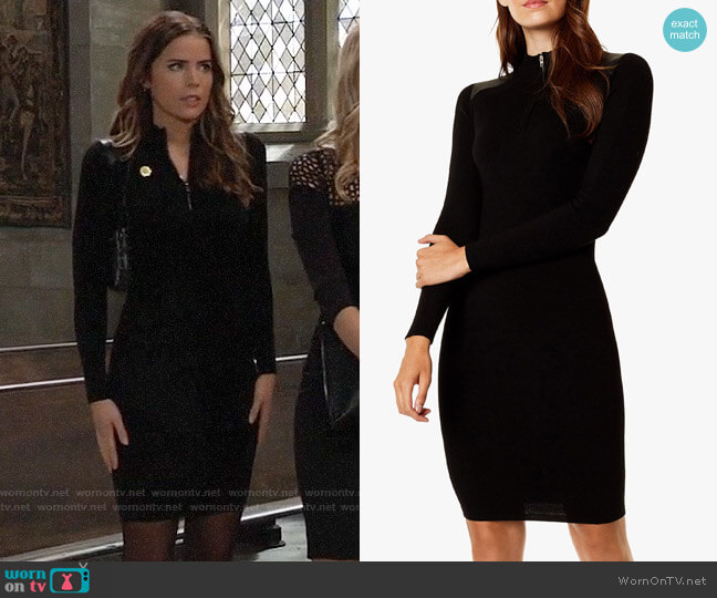 Karen Millen Rib Knit Zip Bodycon Dress worn by Sasha Gilmore (Sofia Mattsson) on General Hospital