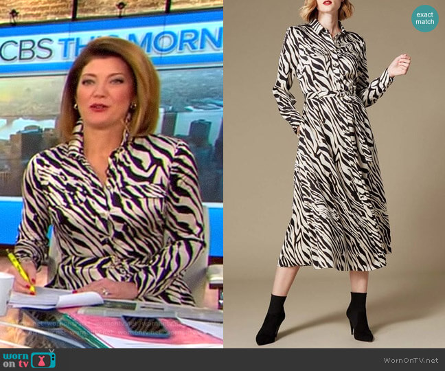Zebra Print Shirt Dress by Karen Millen worn by Norah O'Donnell  on CBS This Morning