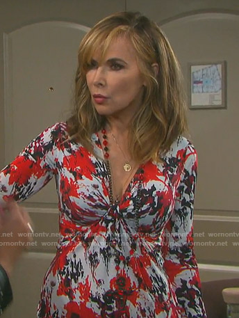 Kate's printed knot front dress on Days of our Lives