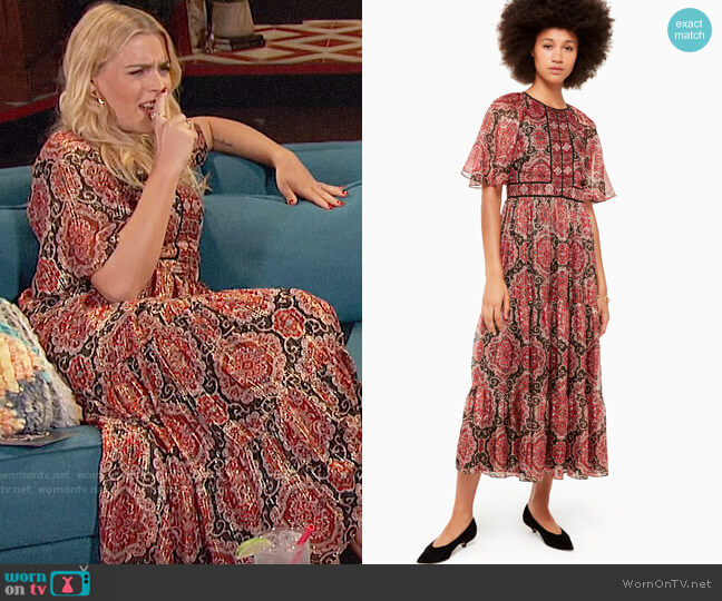 Kate Spade Medallion Metallic Midi Dress worn by Busy Philipps (Busy Philipps) on Busy Tonight
