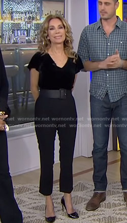 Kathie's black velvet top and pants on Today