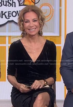 Kathie's black velvet wrap dress on Today