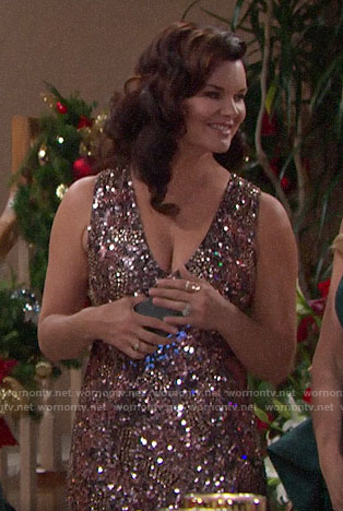 Katie's sequin v-neck dress on The Bold and the Beautiful