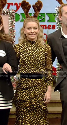 Kelly's black and yellow polka dot tiered dress on Live with Kelly and Ryan