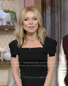 Kelly's black cap sleeve top on Live with Kelly and Ryan