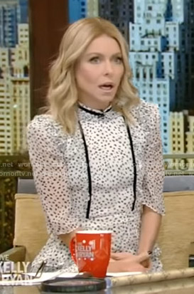 Kelly's white dotted ruffled dress on Live with Kelly and Ryan