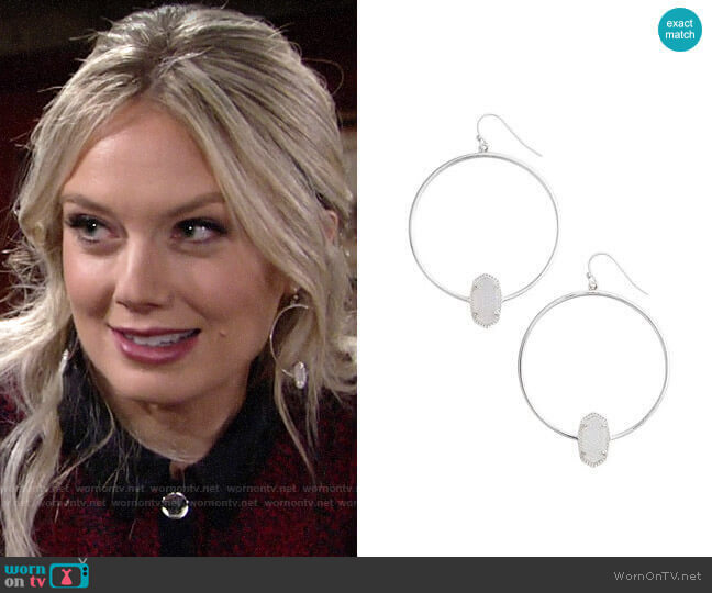 Kendra Scott Elora Frontal Hoop Earrings worn by Abby Newman (Melissa Ordway) on The Young & the Restless