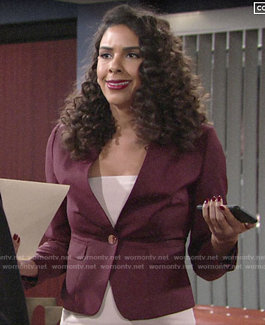 Kerry's red blazer with gold button on The Young and the Restless