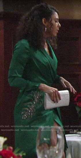Kerry's green embellished wrap dress on The Young and the Restless