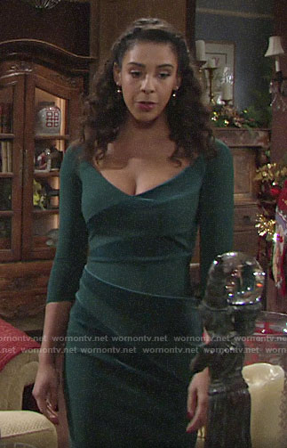 Kerry's green velvet stripe dress on The Young and the Restless