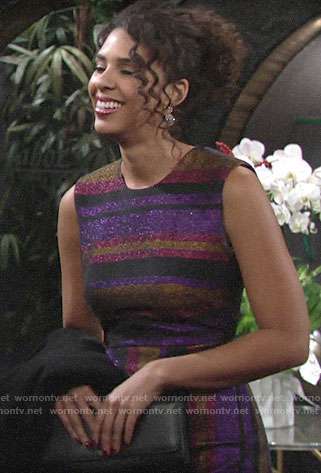 Kerry's purple metallic striped dress on The Young and the Restless