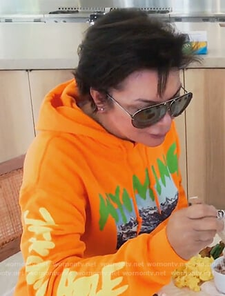 Kris's orange Wyoming print hoodie on Keeping Up with the Kardashians