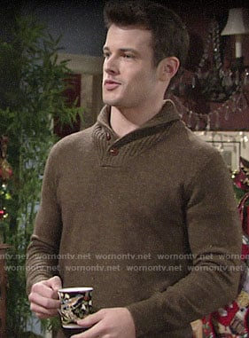 Kyle's olive green shawl collar sweater on The Young and the Restless