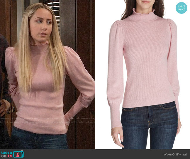 La Vie Rebecca Taylor Cozy Wool & Cotton Sweater worn by Josslyn Jacks (Eden McCoy) on General Hospital