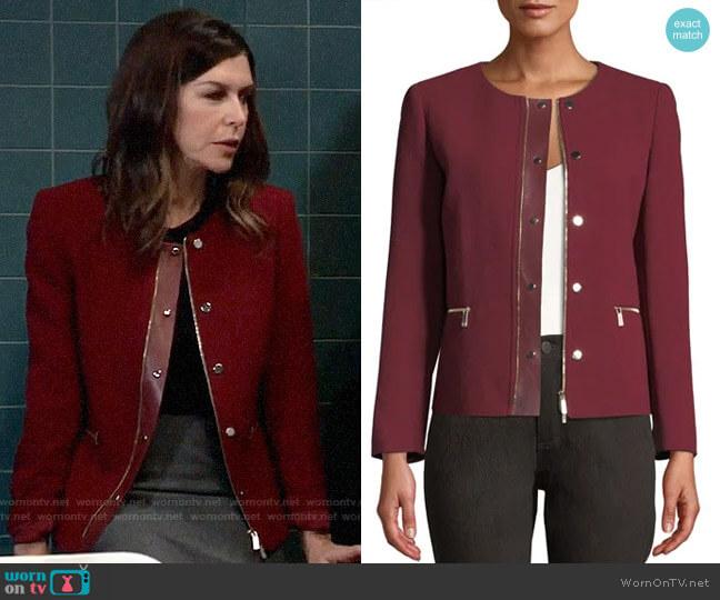 Lafayette 148 New York Kerrington Leather Trim Jacket worn by Anna Devane (Finola Hughes) on General Hospital