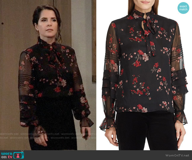 LAUREN Ralph Lauren Floral Victorian Tie Georgette Blouse worn by Sam McCall (Kelly Monaco) on General Hospital